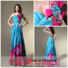 a - Zeile Sweetheart Ein Shoulder Sweetheart Sweep Train Colorful Chiffon- Evening Dress mit Handmade Flower und Beading (8041)