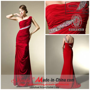 Sheath/Column One Shoulder Floor Length Satin Evening Dress with Beading and Ruffle (B80042)