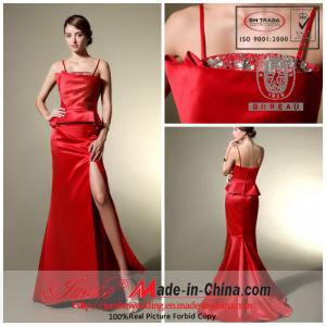 Sheath/Column Spaghetti Strap Sweep Train Satin Elegant Red Evening Dress/Prom Gown (86034)